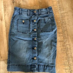 Bebe midi high waisted buttons down denim skirt 4